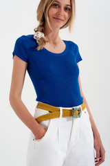 Knitted Fit Rib Crew Neck Sweater in Blue