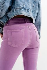 Distressed Raw Hem Skinny Jeans in Lilac