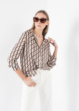 Geometric Print Blouse with Long Sleeves