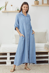Linen Dress with Buttons and Roll up Sleeves in Denim Blue