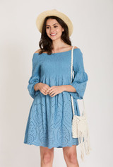 Short Cotton Dress with Broderie Anglaise in Blue