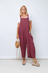 Casual Baggy Linen Dungarees in Burgundy
