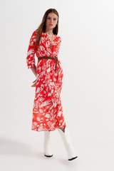 Chiffon Dress in Red with Floral Print