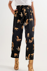 Trousers in Black Tiger Print
