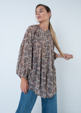 Round Neck Blouse with Puff Sleeves in Oriental Print