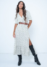 Tiered Maxi Dress with Animal Print