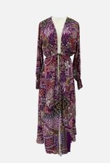 Kimono with Oriental Design and Drawstring Waist