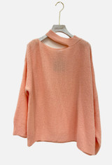 Mohair Blend Sweater with Cut Out Neck in Nude