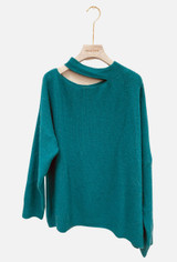 Mohair Blend Sweater with Cut Out Neck in Turquoise
