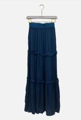 Silk Blend Tiered Skirt with Elasticated Waist