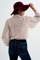 Chiffon Blouse with Mao Collar in Dusty Flower Print