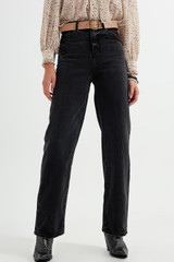 High Rise Straight Jeans in Washed Black