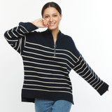 Striped Sweater with 1/4 Zip