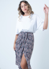 Paisley Printed Skirt with Knot