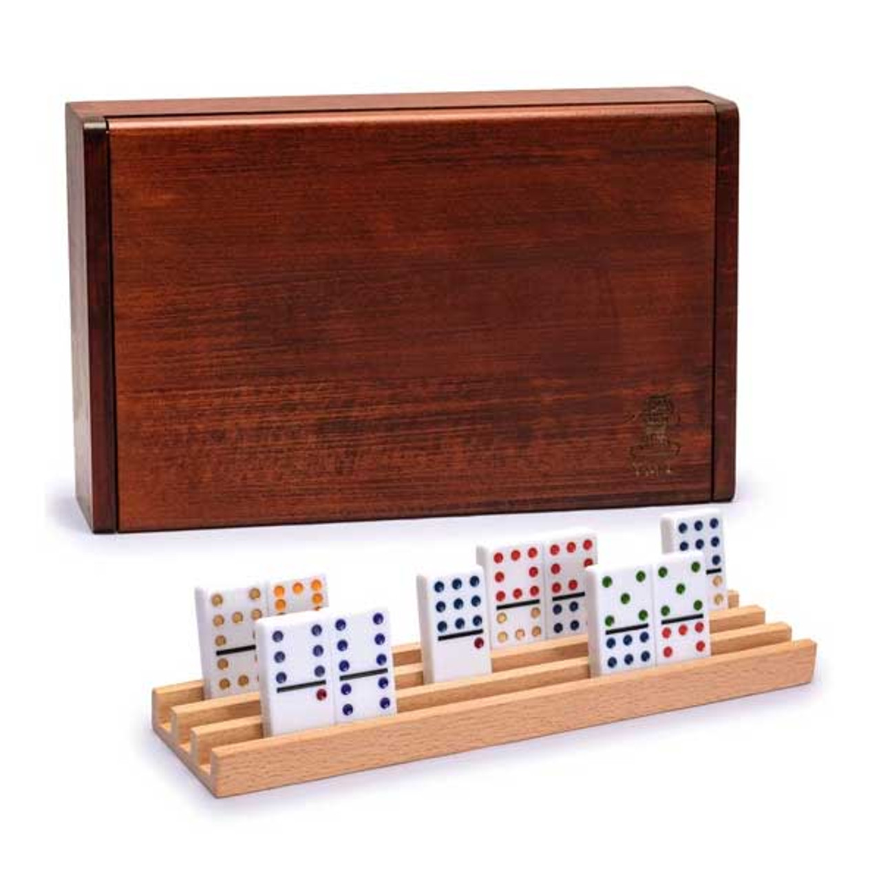 Rosewood Finish Double Twelves Dominos Set with 91 Dominos