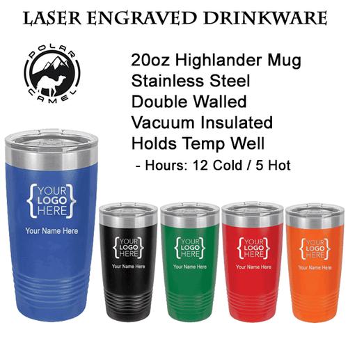Highlander 20oz Custom Steel Mug - white not pictured