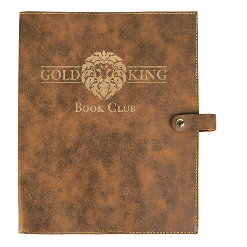Rustic/Gold Leatherette Book/Bible Cover with Snap Closure