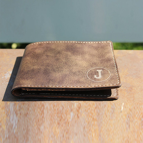 "4 1/2"" x 3 1/2"" Laserable Leatherette Bifold Wallet"
