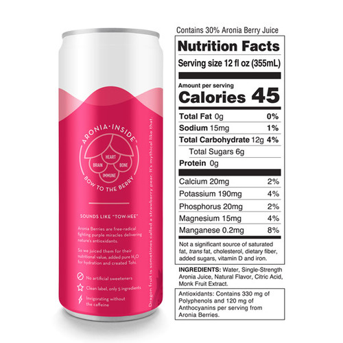 Tohi Aronia Berry Beverage Dragon Fruit Flavor Ingredients