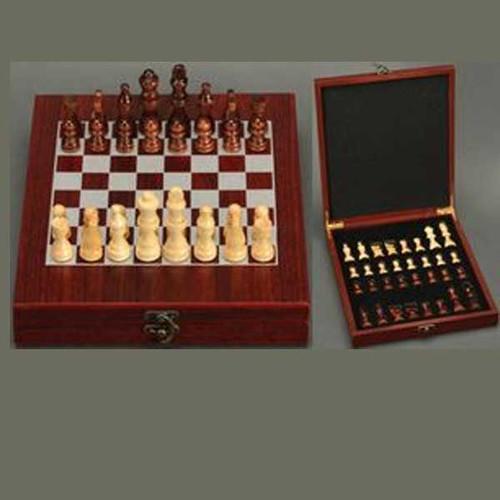 "9.25"" x 10.75"" Rosewood Finish Chess Set"