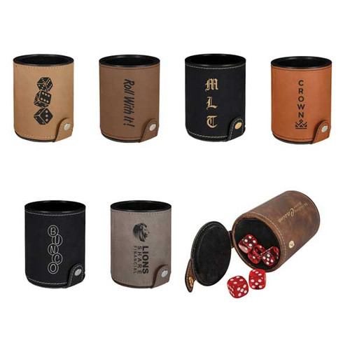 Leatherette Dice Cup with 5 Dice