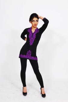 Jersey Kurti 1: Black with Purple