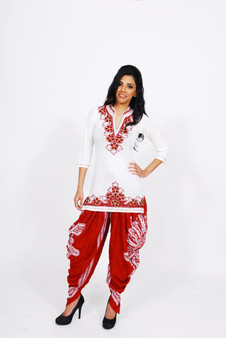 Jersey Kurti 2:  White with Red