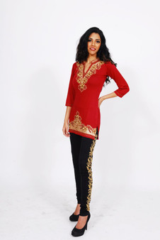 Jersey Kurti 2: Red with Gold