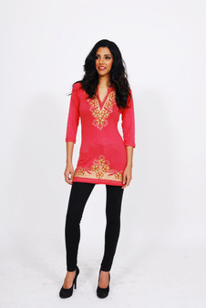 Jersey Kurti 2: Coral with Gold