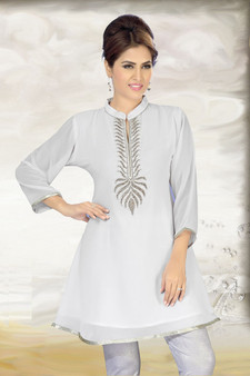 Exquisite Off-white georgette fabric kurti with silver hand work embellishment and silver piping trim border.