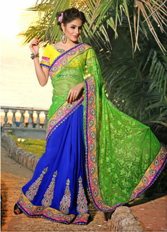 DN-30887: Blue and Green Georgette and Lace Saree