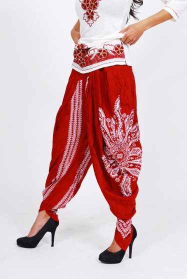 Ladies Dhoti - Red with White