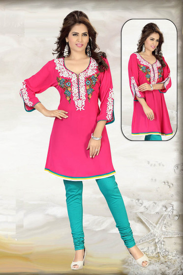 BD-146: Pink Viscose Kurti with Threadwork Embroidery