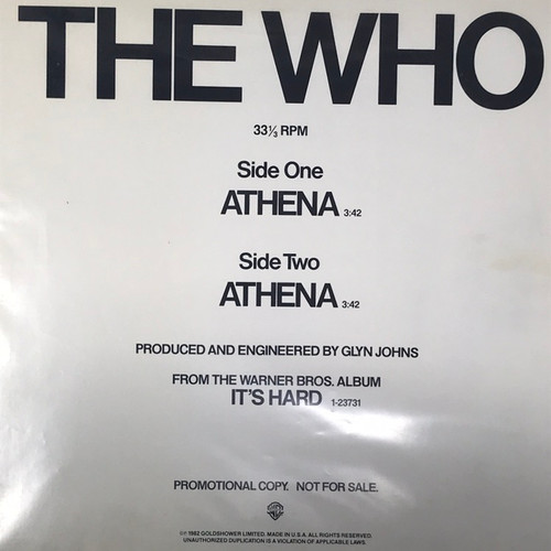 "The Who - Athena (12"" US Promo)"