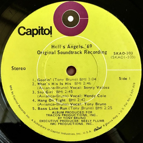 Tony Bruno (3) - Hell's Angels '69 (Original Motion Picture Soundtrack Recording)