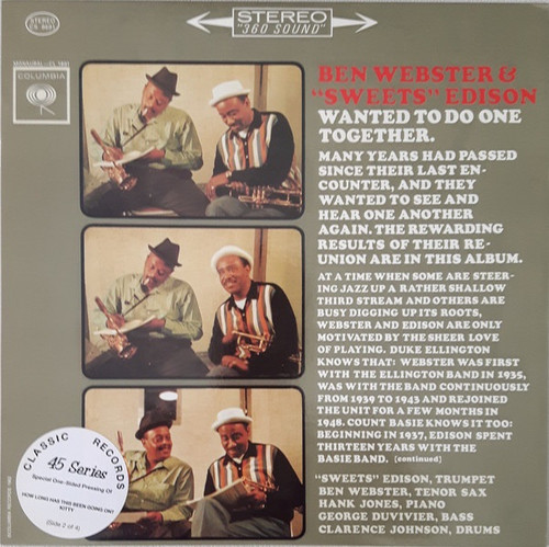 Ben Webster - Wanted To Do One Together ( 45 RPM on 4 single sided LPs -Classic Records)