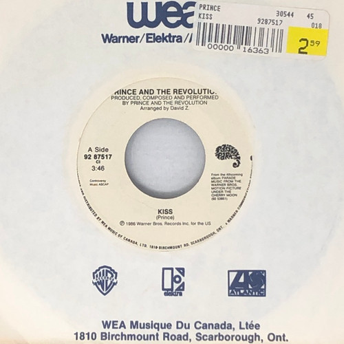 """Prince And The Revolution - Kiss (Canadian 7"""" Single)"""