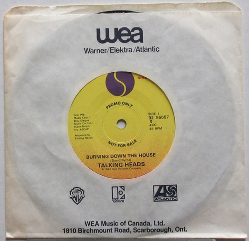 """Talking Heads - Burning Down The House (Canadian 7"""" Promo Single)"""