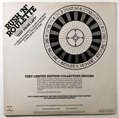 Rush - Rush 'N' Roulette (Promo  Sampler NM/NM)