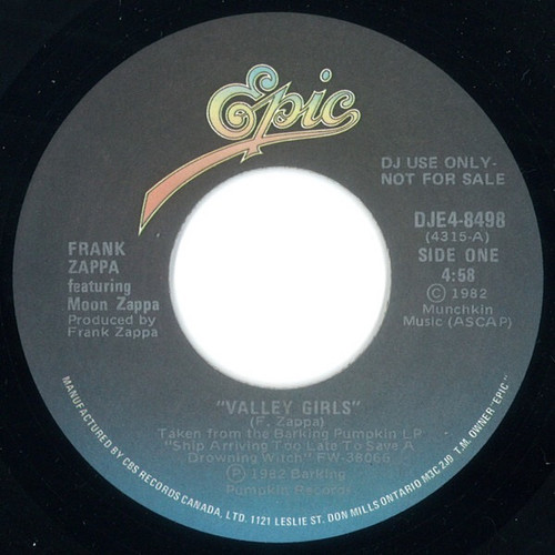 "Frank Zappa - Valley Girls (7"" Canadian Promo)"