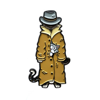 3 Cats in a Trench Coat Enamel Pin