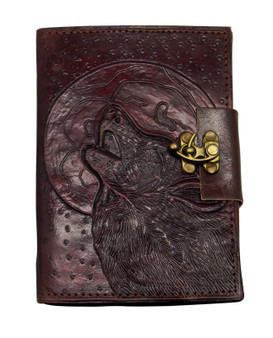 Wolf/Moon Leather Embossed Journal 5 x 7 with metal lock