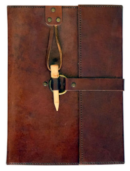 Leather Journal with Wood Peg Closure