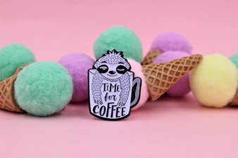 Real Sic Coffee Sloth, Time for Coffee Enamel Pin
