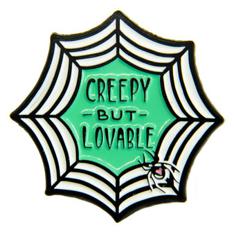 """Creepy But Lovable"" Spiderweb Enamel Pin for Halloween"