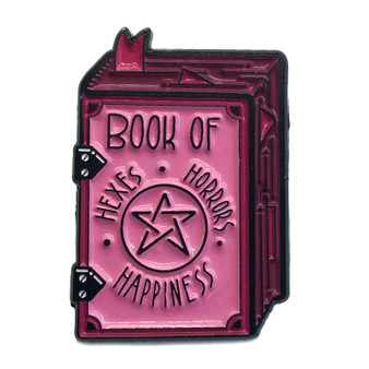 """""""Book of Hexes, Horrors, and Happiness"""" Grimoire Enamel Pin"""