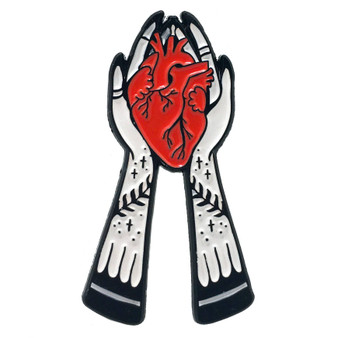 Hands Holding Heart Witchy Enamel Pin