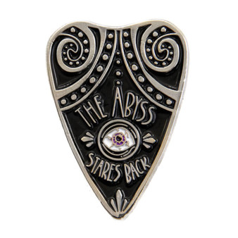 """The Abyss Stares Back"" Ouija Planchet Enamel Pin"