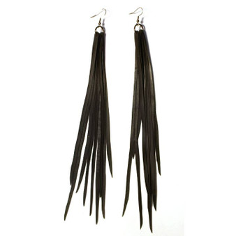 Feather Tube Earrings, Midnight Madam