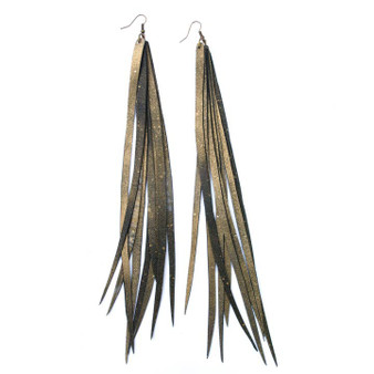 Feather Tube Earrings, Disco Diva